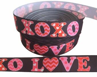 """BLACK XOXO LOVE ~ Valentine's Day ~ Grosgrain Ribbon  ~7/8"""" ~ 7/8 inch"""