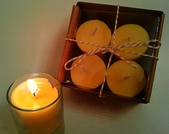 4 pack of locally sourced beeswax votives mixed with organic coconut oil