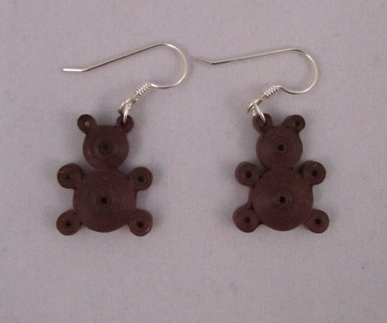 Quilled Paper Teddy Bear Earrings