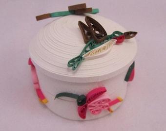 Hummingbird All-Paper Quilled Box - Handmade