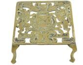 Antique Brass Trivet British Monarch Royal Coat Of Arms Dieu Et Mon Droit .Pot Holder.Brass Plant Pot Stand