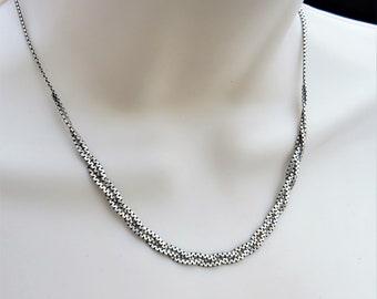 2a3228dc1 Vintage Sterling Silver Italian Choker Necklace Delicate Braided Chain  .Vintage Sterling Choker Minimalist Choker .Vintage Bride's Jewellery
