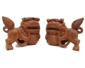 Hand Carved Wood Japanese Foo Dogs Figurines Pair .Feng Shui Home Decor.