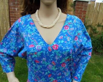 Vintage Laura Ashley UK14/ Floral  Cotton Tea Dress Size 14 UK /40 EU/12 US.Perfect Condition.Retro Dress/Floral Dress/Country  Dress