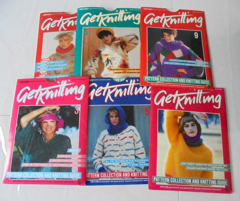 Vintage 80s Marshall Cavendish Get Kiniting Set Of 6 Knitting Etsy