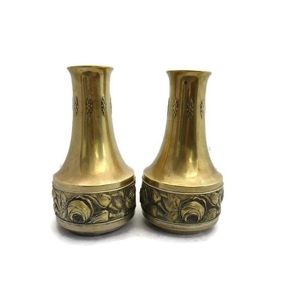 German Muvak Art Nouveau Pair Of Brass Vases H 31 Cm Tique Etsy
