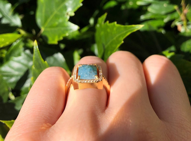 Blue Quartz Ring in 14K Yellow Gold Vermeil Faceted Blue Rock Crystal Ring in Sterling Silver Quartz Ring Birthday Gift Gemstone Jewelry