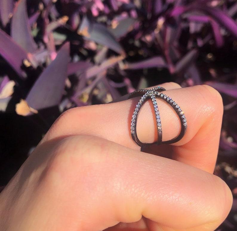 Black Rhodium X-Ring Sterling Silver Starburst Ring Unique X-Ring Star Shape Silver Ring X-Ring for Woman