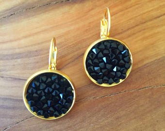 Gold drop earrings, Black crystal drop earrings, Romantic drop earrings, Gold dangling earrings, Romantic crystal earrings, Gift  for her