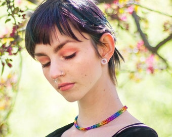 Rainbow Choker, Gay Pride Choker, Gay Pride Flag, Gay Pride Colors, LGBT Jewelry, Rainbow Necklace, Lesbian Gift, Gay Girlfriend Gift, LGBTQ