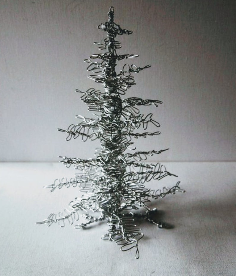 Wire Christmas Tree.Silver Wire Christmas Tree Sculpture Ornament Gift
