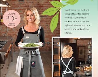 Cook's Apron Digital PDF Sewing Pattern in Classic Long Silhouette w/task pockets, handy towel loop & wrap ties-as seen in Where Women Cook