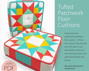 Tufted Patchwork Floor Cushions Digital PDF Sewing Pattern