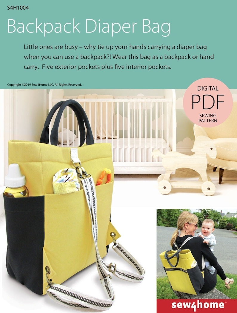 Backpack Diaper Bag Digital PDF Sewing Pattern image 0