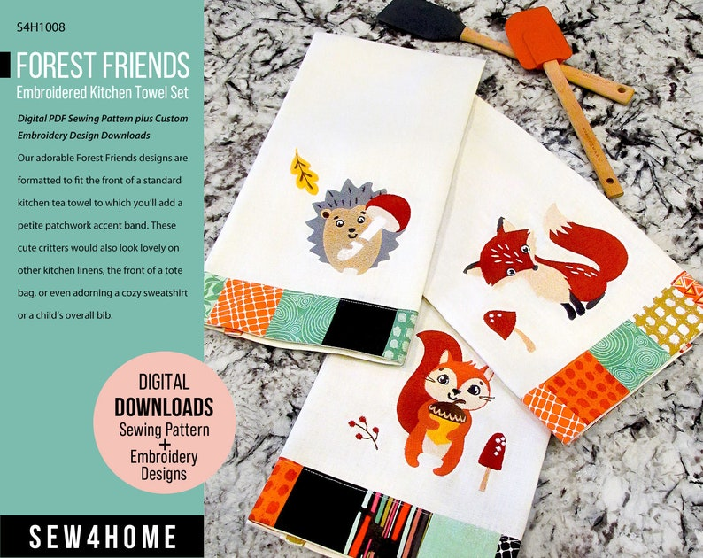 Forest Friends Embroidered Kitchen Towel Set  Digital PDF image 0