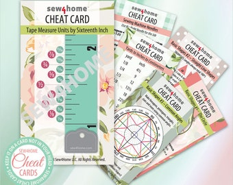 Sewing Cheat Card Set Instant PDF Download: Six Need-to-Know Tip Cards for Measuring, Figuring, Converting & More in a Handy Biz Card Size