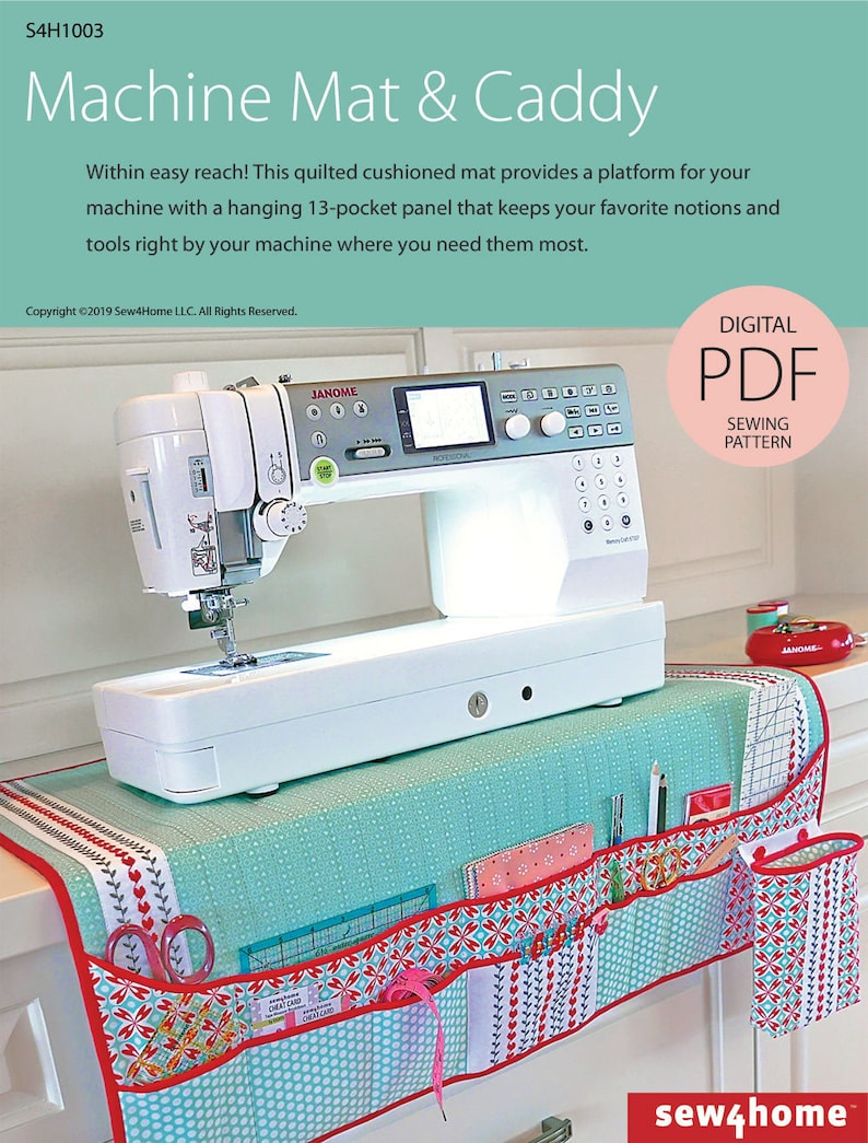 Quilted Sewing Machine Mat & Notions Caddy Digital PDF Sewing image 0