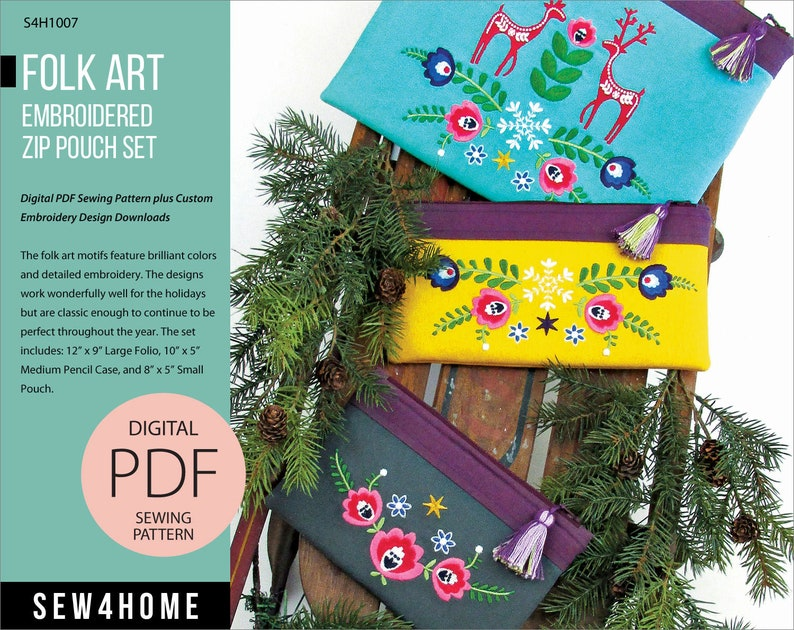 Folk Art Embroidered Zip Pouch Set Digital PDF Sewing Pattern image 0