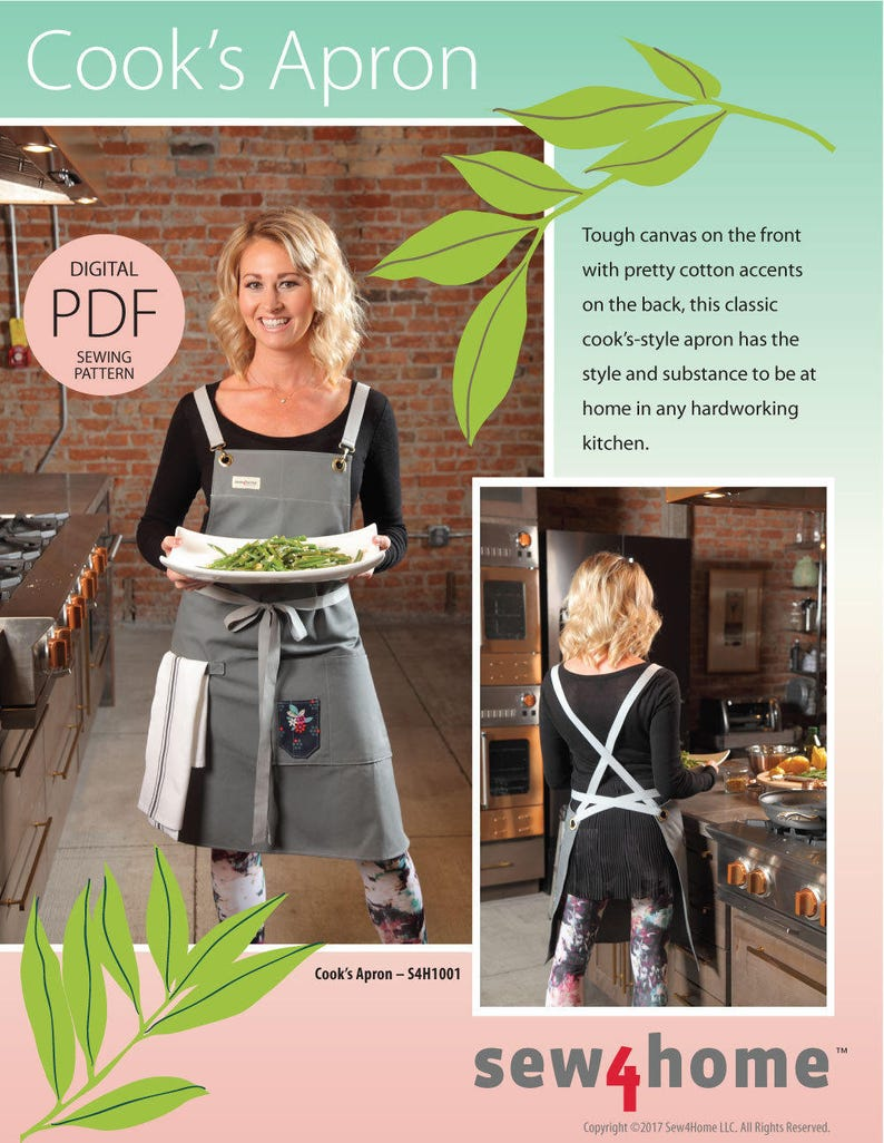 Cook's Apron Digital PDF Sewing Pattern in Classic Long image 0