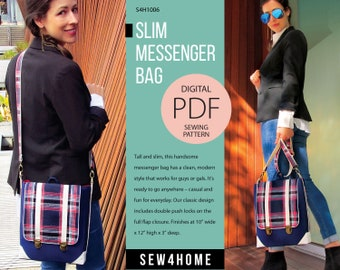 Slim Messenger Bag Digital PDF Sewing Pattern