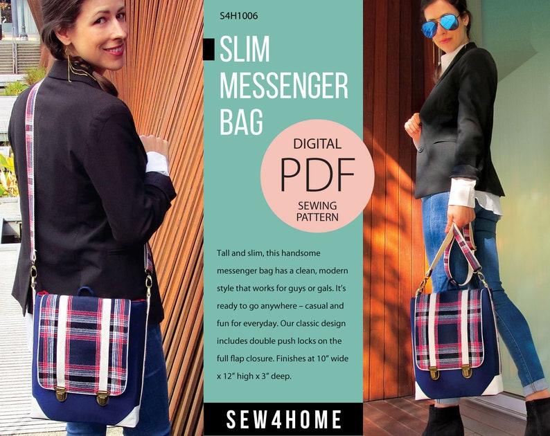 Slim Messenger Bag Digital PDF Sewing Pattern image 0