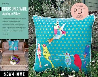 Birds on a Wire Appliqué Pillow Digital PDF Sewing Pattern