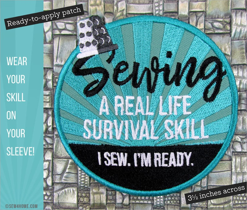 Sewing: A Real Life Survival Skill Embroidered Patch image 0