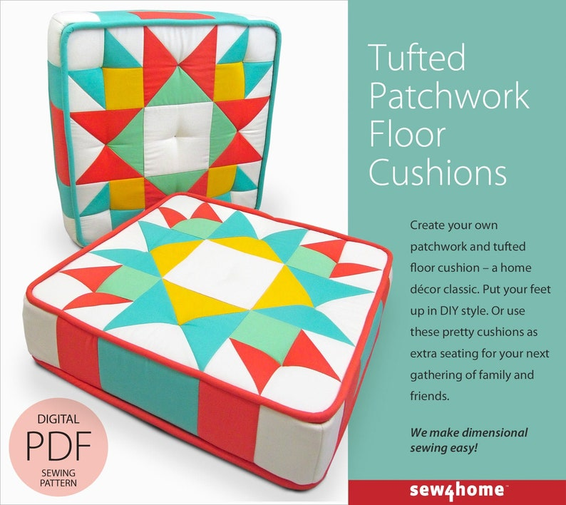 Tufted Patchwork Floor Cushions Digital PDF Sewing Pattern image 0