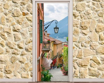 "Small Town Street View In Lake Comolo Italy (31"" x 79"" 