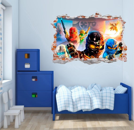 lego ninjago 3d smashed wall decal wall sticker wall vinyl | etsy