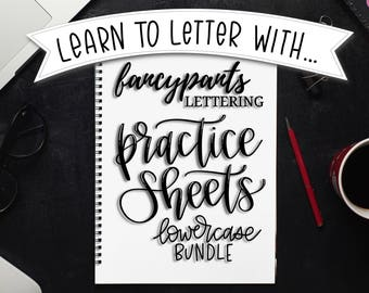 Lettering Practice Worksheets - Instant Download, Learn to Letter, Hand Lettering Practice, Printable, iPad Lettering, Lowercase Alphabet