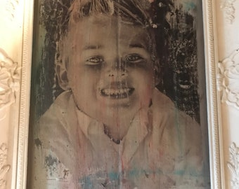 Handmade photo transfer on wooden plaque