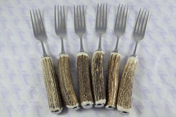 Six Rare Sambar Stag//Antler Handle Steak Forks Silver ferruled Boxed Sheffield