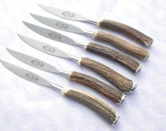6 Six Genuine Stag/Antler/Horn Handle Steak Knives Futuristic Pattern Made In Sheffield England