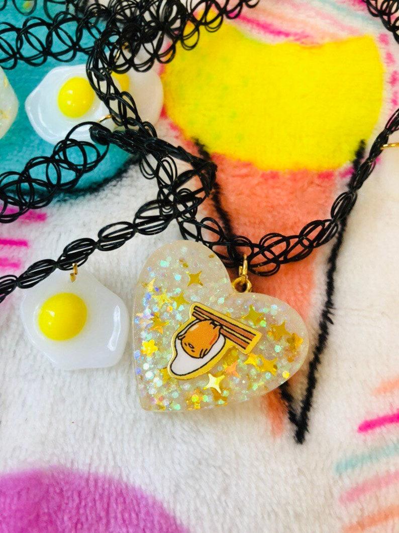 Gold Egg Gudetama Small Heart Chokers