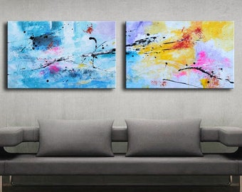 ABSTRACT PAINTING -  Modern Home Wall Decor Painting Canvas Art (50x160cm) (20x63 inch) colorful art pink white blue yellow