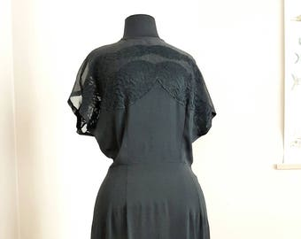 Rare Find Vintage 1930 Black Crepe Dress