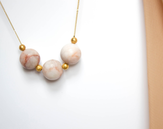 Light Pink Zebra Jasper and Gold Beads Necklace
