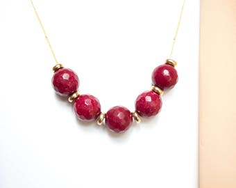Faceted Red Jade and Brass Beads Necklace