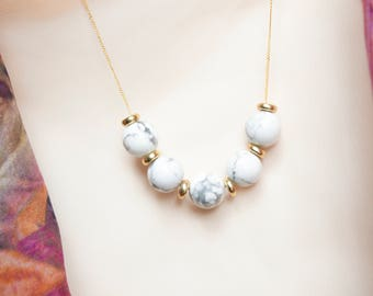 Howlite and Brass Necklace