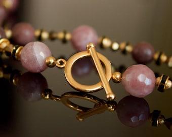 Strawberry Quartz and Aventurine Beaded Necklace