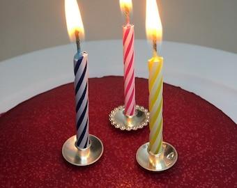 Birthday Candle Holder In Sterling Silver Cakedecorating For Weddingcake Cake Topper Holders Handmade