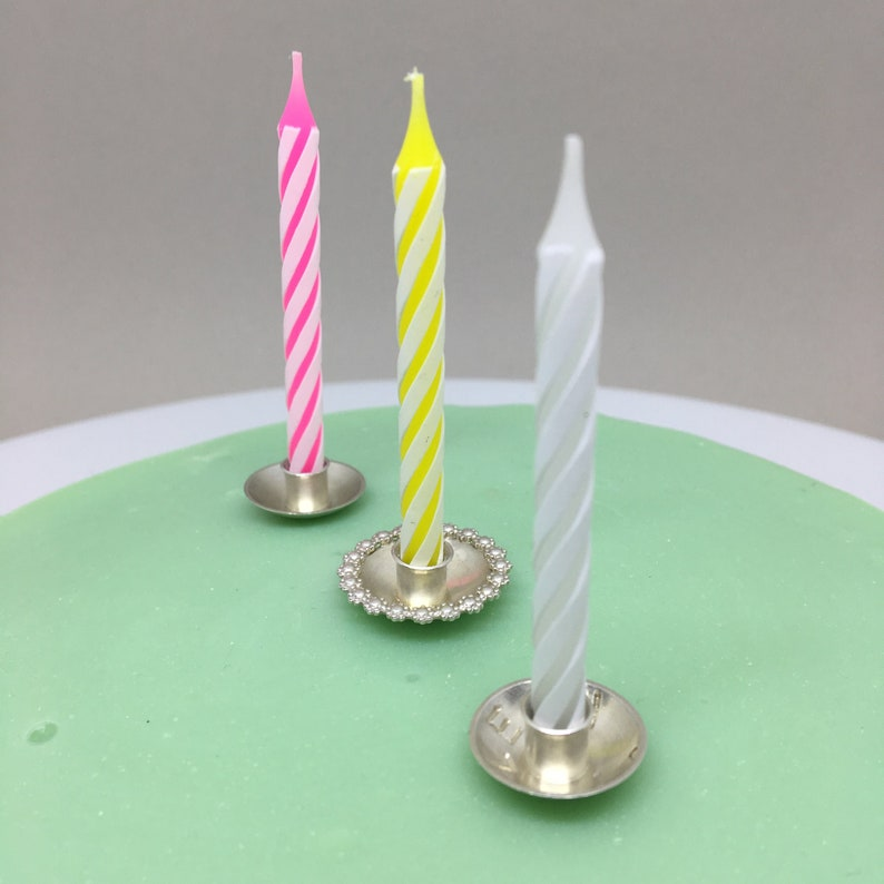 Customized Cake Candle Holder Sterling Silver For Birthday