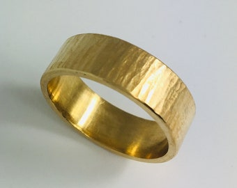 Forged gold ring , gold plated, sterling silver