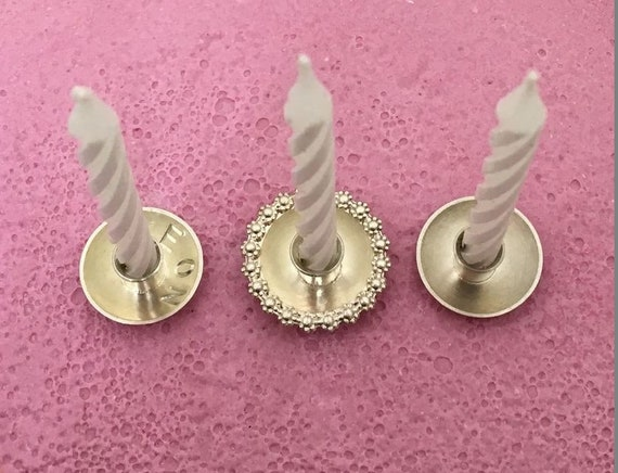 Cake Candle Holder Sterling Silver DAISY For Birthday And