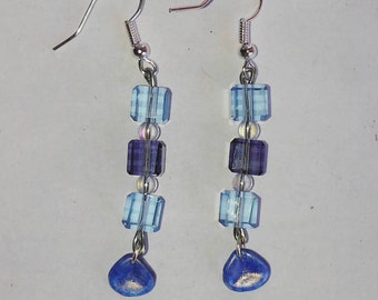 Blue violet block earrings
