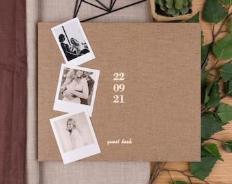 Wedding Photo Album in Tan linen | Lay Flat Polaroid Album | Customizable Cover