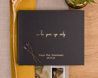 Deluxe Black Metallic Fabric Guest Book | Gold and silver foil | Lay Flat Wedding Album