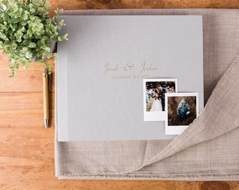 Polaroid Guest Book in Dusty Gray linen | Fuji Instax Book and Photo booth Album
