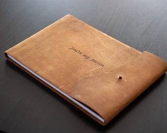 Vintage Boudoir Book, Gift for Husband, Boyfriend or Groom, Sexy Book, Premium Brown Leather Album
